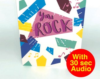 Recordable Valentines Birthday Cards - You Rock - With 30 second Audio