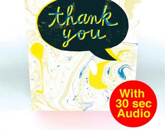 Recordable Audio Greeting Cards - Thank You Black - With 30 second Audio