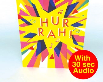 Recordable Audio Greeting Cards - Hurrah - With 30 second Audio