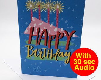 Recordable Audio Birthday Cards - Cake - With 30 second Audio