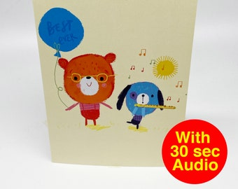 Recordable Audio Talkie Cards - Cutes Flute - With 30 second Audio