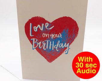 Recordable Audio Birthday Cards - Heart - With 30 second Audio