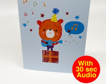 Recordable Audio Talkie Cards - Cutes Guitar - With 30 second Audio