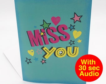 Recordable Audio Cards - Miss You - With 30 second Audio