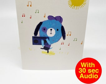 Recordable Audio Talkie Cards - Cutes Ghetto Blaster - With 30 second Audio