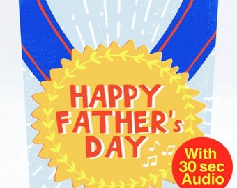 Recordable Audio Cards - Fathers Medal - With 30 second Audio