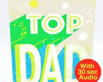 Recordable Audio Cards - Top Dad - With 30 second Audio