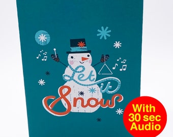 Recordable Audio Christmas Cards - Snowman Let - With 30 second Audio