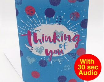 Recordable Audio Cards - Thinking of You - With 30 second Audio