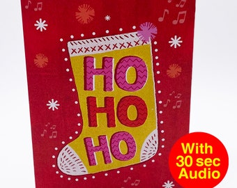 Recordable Audio Christmas Cards - Hohoho - With 30 second Audio