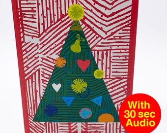 Recordable Audio Christmas Cards - Tree - With 30 second Audio
