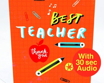 Recordable Audio Greeting Cards - Best Teacher - With 30 second Audio
