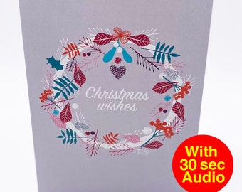 Recordable Audio Christmas Cards - Wreath - With 30 second Audio
