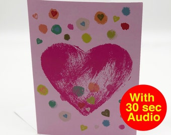 Recordable Audio Love Cards - Heart - With 30 second Audio