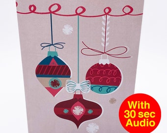 Recordable Audio Christmas Cards - Bauble - With 30 second Audio