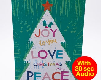 Recordable Audio Christmas Cards - Tree Joy - With 30 second Audio