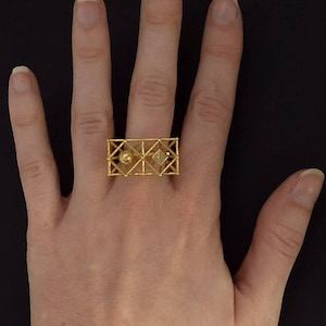 EQUILIBRIUM-Brass Geometric Ring-Small Architectural Structure-Geometric Jewellery 3d Printing-Gift Idea