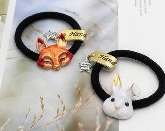 Enamel bunny fox hair ties/ Hair Elastics/ Girls Ponytail holder