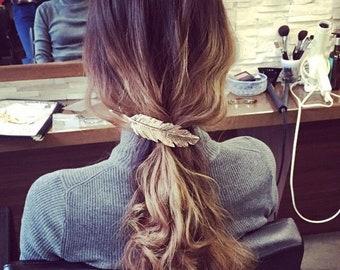 Vintage Gold Metal feather leaf hair clip/Bronze clamp barrette/Women Hair Clips