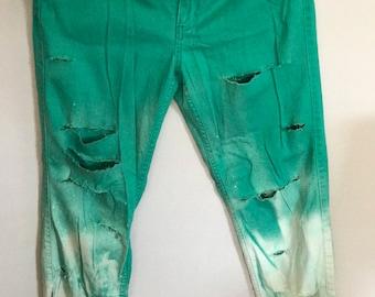 Bleached Teal Skinny Jeans