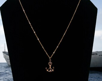 16k Gold-Plated Nautical Anchor Necklace