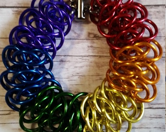 Rainbow chainmaille bracelet - Gay Pride - Viperscale