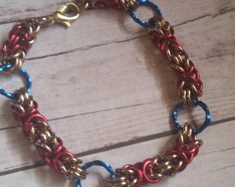 Wonder Woman inspired byzantine chainmaille bracelet