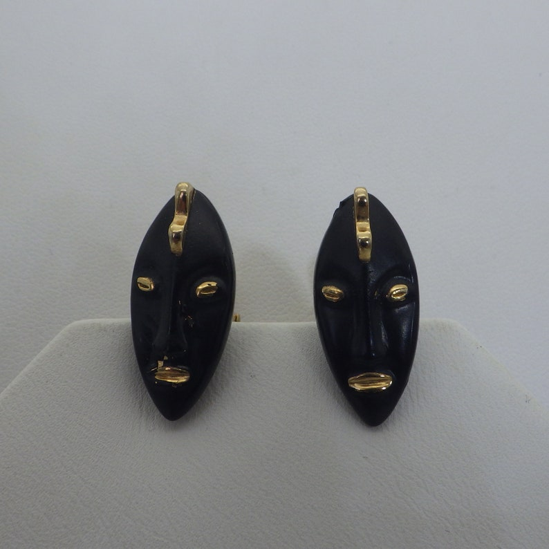 Men Gift For Him Signed SWANK Vintage 1960s Gold and Black Tribal Cuff Links Enamel Faces Vintage Accessories Unique Gift For Dad Boho