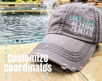 ea91c7bd Women's hat with gps coordinates, lake house gift, lake house, lake house  hat, gift for lake house owner, lake house decor, custom lake hat