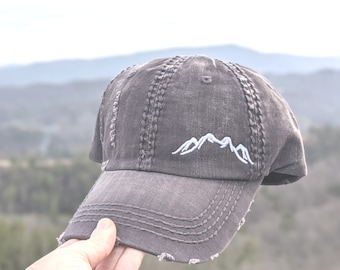 Women's mountain baseball cap, women's mountain hat, hat with mountains, hat with mountains in corner, hat with embroidered mountains