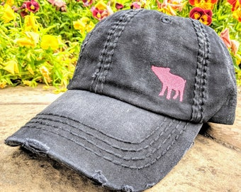 16666322 Women's pig hat, hat with pig, hat with small pig, cute pig hat,  embroidered pig hat, sewn pig hat, pig birthday gift, pig gift, pigs
