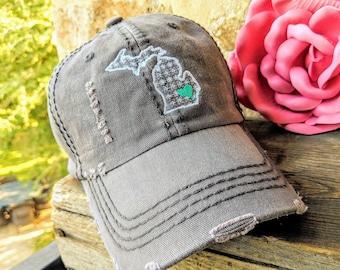 9d557ec7ea5e69 Women's Michigan Baseball Cap, Michigan Baseball Cap, Women's Michigan Hat,  Michigan hat, Michigan clothing, Michigan birthday gift,Michigan