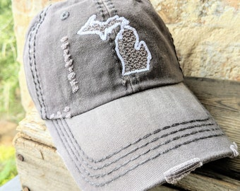 4f81bfeb82a03d Michigan Heart hat, Michigan Baseball Cap, Women's Michigan Hat, Michigan  hat, Michigan clothing, Michigan birthday gift, Michigan