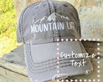 f0fa34fa8b7427 Women's Custom Mountain Hat, Mountain Hat with Custom Text, Mountain Life  Hat, mountain life hat, gift for hiker, women's hiking hat