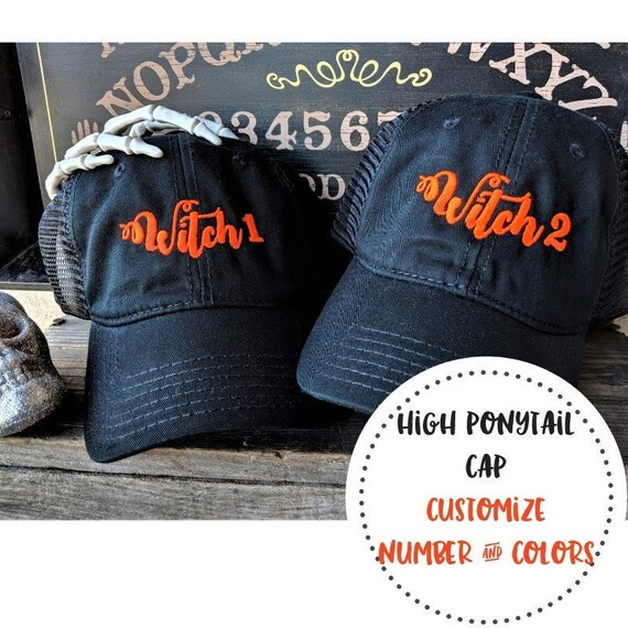 Witch high ponytail cap witch hat witch baseball cap  090d40f0a09