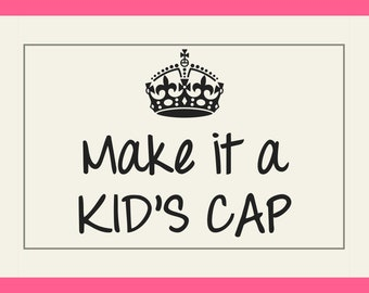 Kid's Cap Base Switch, add-on item only, choose color, high ponytail available