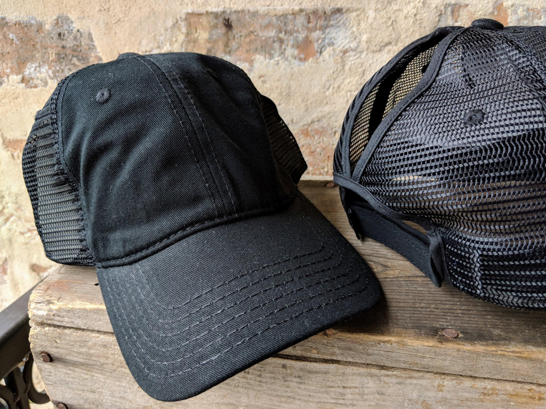 Black Ponytail Cap High Ponytail Cap High Ponytail Hat  2d429d7de01