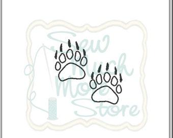 Bear Paw Prints Outline (Felt Applique) Embroidery File   1.5 INCH    Machine Embroidery File   Woods   Woodland   Animal   Forest   Hunting