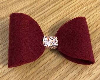 Burgundy felt hair bow