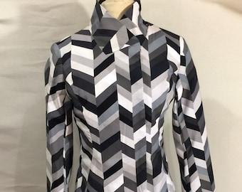 Black-Gray-White Geometric & Asymmetrical Jacket