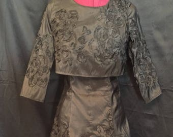 Black Embroidered Silk Dress with Attached Cape