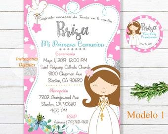 Invitaciones Primera Comunion Niña Communion Niña Comunion