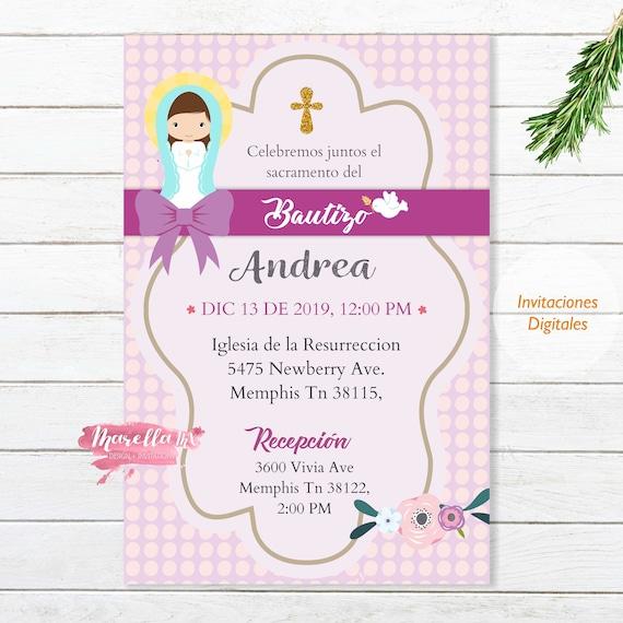 Invitacion Bautizo En Español Baby Girl Para Imprimir Tarjeta Virgencita Bebe Printable Invite
