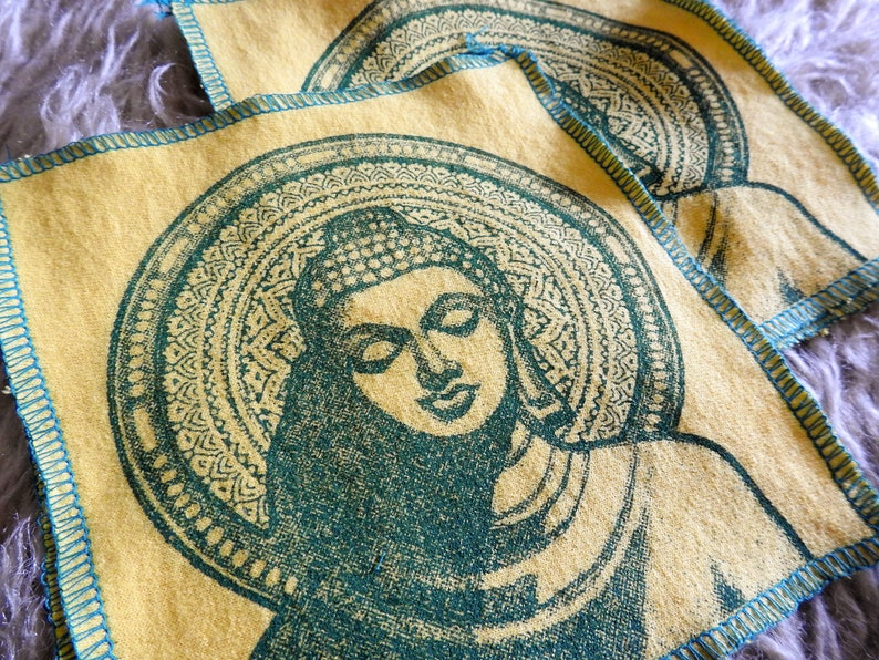 small art for mediation shrine  yoga buddha screen print patch on recycled t shirt material sew on clothing blankets tapestries pillows etc