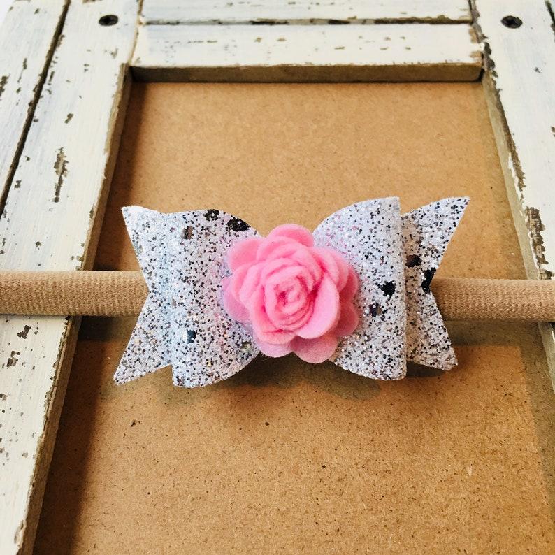 Baby Bow Nylon Headbands Baby Gift Infant Headband Pink Flower Bow Baby Headband Baby Girl Headband Baby Headbands Glitter Bow