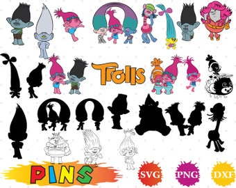Trolls svg,dxf,png/Trolls clipart for Design,Print,Silhouette, Cricut