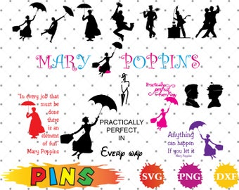 Mary Poppins svg,dxf,png/Mary Poppins clipart  for Design,Print,Silhouette, Cricut