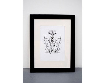 A4 FRAMED - Deer and insect - Black and White art print