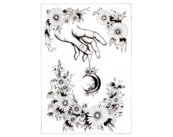 A5 Floral hand illustration - Black and white art print
