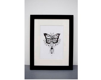 A4 FRAMED - Butterfly and insect - Black and white art print